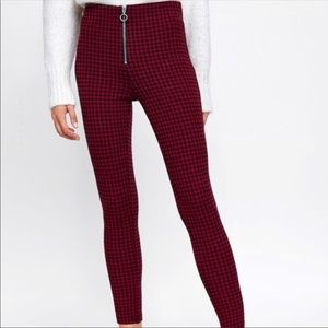 Zara Red Plaid Checked Leggings